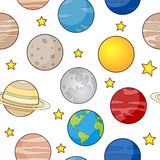 Earth and Planets Seamless Pattern Stock Photos
