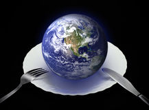 Earth on a plate Stock Photography