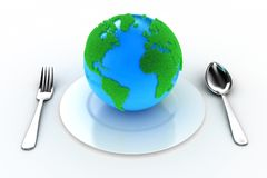 Earth on a plate Stock Photos