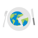 Earth on plate. Globe cut with a knife. Cutlery: knife and fork. Royalty Free Stock Images