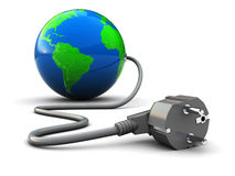 Earth plug. Abstract 3d illustration of earth globe with power cable Royalty Free Stock Photos