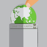 Earth in pocket with flat hand. Royalty Free Stock Photo