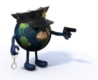 Earth with police cop and gun on hand Stock Photo