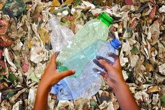 Earth polluted plastic stock images