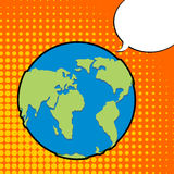 Earth in pop art style. Planet earth and bubble. Text bubble. La Royalty Free Stock Images