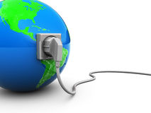 Earth and power cable. 3d illustration of earth globe with power cable and outlet Royalty Free Stock Photos