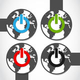 Earth power sticker set Royalty Free Stock Photo