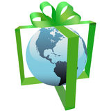 Earth Present In Green Ribbon Bow Gift Decoration Stock Photos