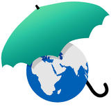 Earth protected by a green world umbrella. Earth protected by a green umbrella symbol environmental threat and protection Vector Illustration