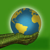 Earth put on green hands Royalty Free Stock Photo