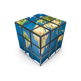 Earth puzzle cube. 3D render of puzzle cube with Earth map on sides, Earth map texture source: cinema4dtutorial.net Stock Photo