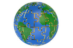 Earth of the puzzle 3D Stock Image