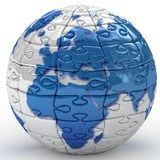 Earth puzzle on white background. royalty free stock photos