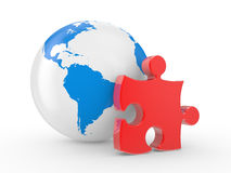 The earth and puzzles Stock Photo