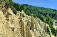 Earth pyramids in South Tyrol, Italy. Earth Pyramids can be found in Ritten, above Bolzano, near Klobenstein, Oberbozen, and Unterinn; or  Platten near Percha in Royalty Free Stock Photo