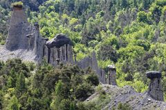 Earth Pyramids, french Hautes-Alpes. Earth Pyramid, situated in the Hautes-Alpes near Lake Serre-Poncon. This is a natural phenomenon and the result of stock images
