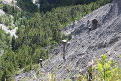 Earth Pyramids in the Hautes-Alpes, France stock photos
