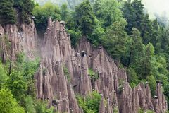 Earth pyramids in Renon, South Tyrol, Italy. Natural phenomen of earth pyramids created by erosion in Renon, South Tyrol, Italy stock images