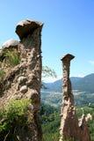 Earth Pyramids of Segonzano, Italian Dolomites Stock Photos