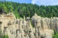 Earth pyramids in South Tyrol, Italy. Earth Pyramids can be found in Ritten, above Bolzano, near Klobenstein, Oberbozen, and Unterinn; or  Platten near Percha in Stock Images