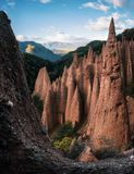 Earth pyramids in South Tyrol, Italy. Earth pyramids with stones on top in Renon Ritten region, South Tyrol, Italy royalty free stock images