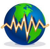 Earth quake lines. Earth and earth quake lines Stock Images