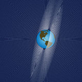 Earth Radiates Global Comm. Space Earth Rings or Orbits as Radiation of Global Communication vector illustration