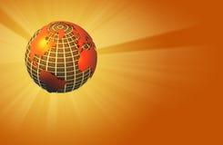 Earth Radiating Light - Warm - Left Orientation. 3D render of an earth globe radiating light - warm colors used Stock Image