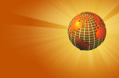 Earth Radiating Light - Warm - Right Orientation. 3D render depicting an earth globe with warm colors used stock illustration