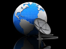 Earth with radio-aerial. Abstract 3d illustration of earth globe with satellite antenna over black background Stock Images