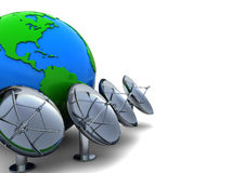 Earth and radio aerials. 3d illustration of earth globe with radio aerials row Royalty Free Stock Photos