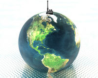 Earth with radio set Royalty Free Stock Image