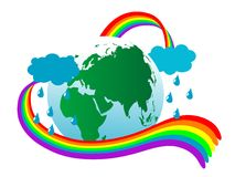 Earth and rainbow Royalty Free Stock Images