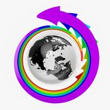 Earth with rainbow arrows Stock Photo