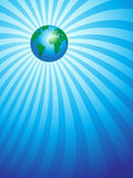 Earth on ray background Royalty Free Stock Photography