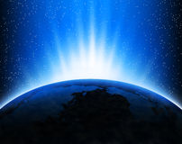 Earth and rays. Illustration with Earth in space, light rays and stars Royalty Free Stock Image