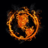 Earth with realistic Flames. Illustration of the earth on fire on black background using realistic flames Royalty Free Stock Photos