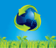 Earth and recycle. Earth with recycle sign on blue sky background, vector illustration Stock Image