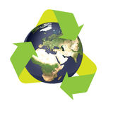 Earth recycle. Recycle the earth in solid white  background high quality Royalty Free Stock Images