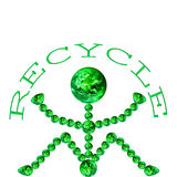 Earth Recycle. An earth man sat down holding the word RECYCLE above his head Royalty Free Stock Photography