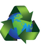 Earth recycle. Vector illustration of the earth in a recycle symbol Royalty Free Stock Image
