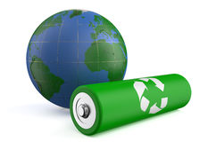 Earth and recycle battery. Isolated on  white background Royalty Free Stock Photography