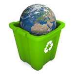 Earth in recycle bin. Environmental concept with planet Earth in green recycle bin  on white background. Elements of this image furnished by NASA Stock Photo