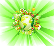 Earth Recycle Concet background. Environment and recycle concept green background Royalty Free Stock Photo