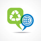 Earth and recycle icon in message bubble Stock Images