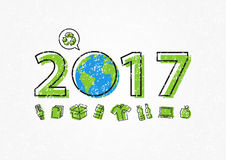 Earth 2017 with recycle sign vector illustration. New year 2017 ecological concept vector illustration