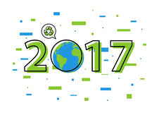 Earth 2017 with recycle sign vector illustration. New year 2017 ecological concept with colorful elements royalty free illustration
