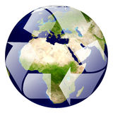 Earth with recycle signs, Arrow around the eco globe. Ecology planet with with trees around. eco earth. Eco globe. Eco planet Stock Photos
