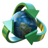 Earth Recycle. The Earth surrounded by the recycle symbol 3D rendering Royalty Free Stock Image
