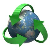 Earth recycle symbol. High resolution 3D render of Planet Earth Royalty Free Stock Photos